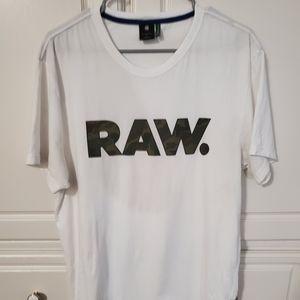 G-Star Raw T-Shirt White w/Camo Print Amazing Cond